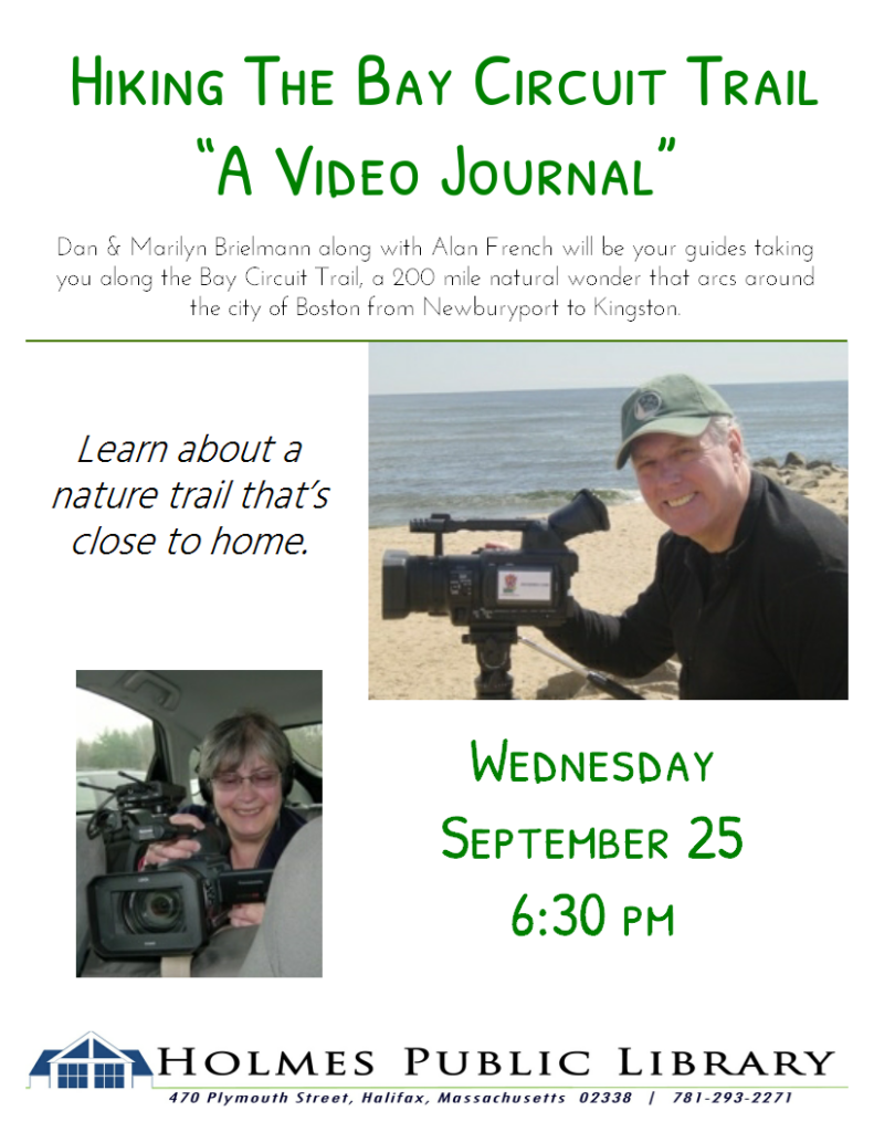 Hiking the Bay Circuit Trail Video presentation Sept. 25 6:30 pm