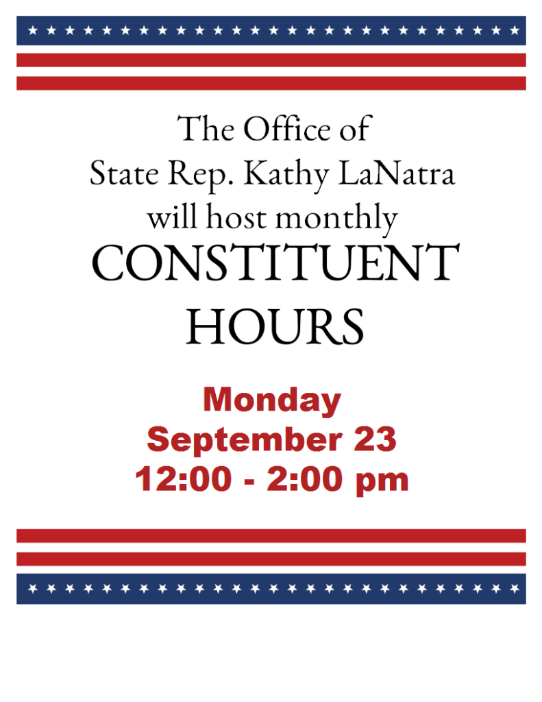 constituent hours with State Rep. LaNatra Monday, Sept. 23 12-2